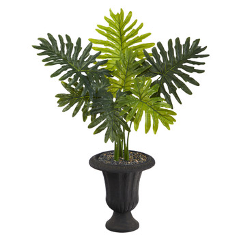 3.5 Philodendron Artificial Plant in Charcoal Urn Real Touch - SKU #P1415