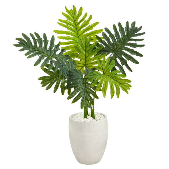 40 Philodendron Artificial Plant in White Planter Real Touch - SKU #P1416