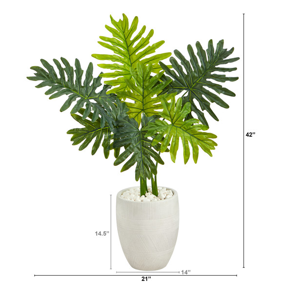 40 Philodendron Artificial Plant in White Planter Real Touch - SKU #P1416 - 1