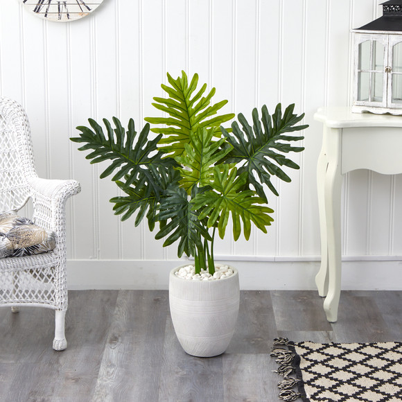 40 Philodendron Artificial Plant in White Planter Real Touch - SKU #P1416 - 2