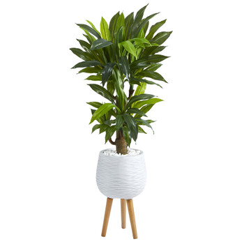 46 Corn Stalk Dracaena Artificial Plant in White Planter with Stand Real Touch - SKU #P1417