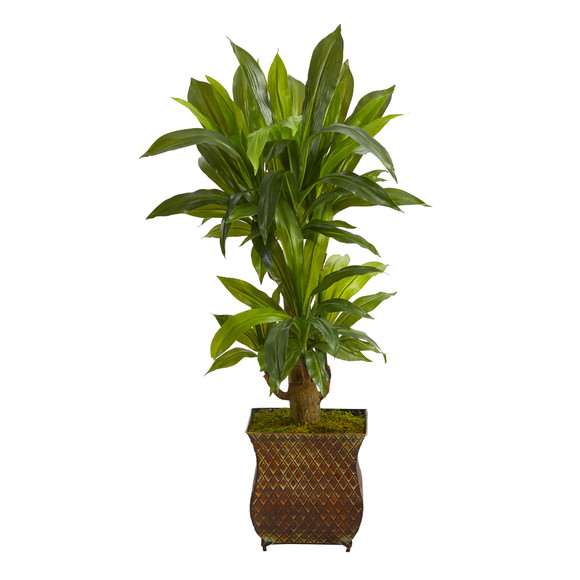 38 Corn Stalk Dracaena Artificial Plant in Metal Planter Real Touch - SKU #P1418