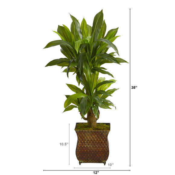 38 Corn Stalk Dracaena Artificial Plant in Metal Planter Real Touch - SKU #P1418 - 1