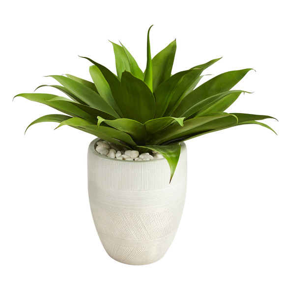 2 Agave Succulent Artificial Plant in White Planter - SKU #P1422