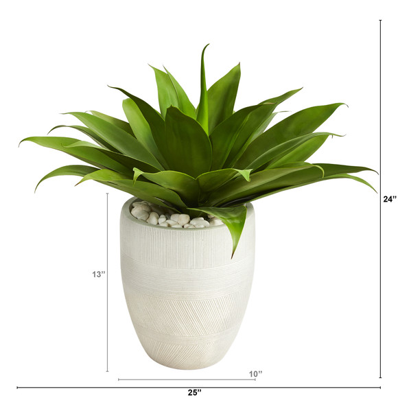 2 Agave Succulent Artificial Plant in White Planter - SKU #P1422 - 1