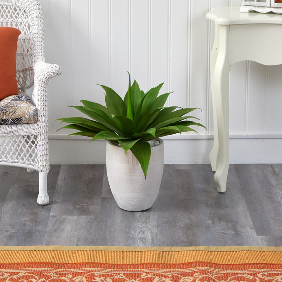 2 Agave Succulent Artificial Plant in White Planter - SKU #P1422 - 4