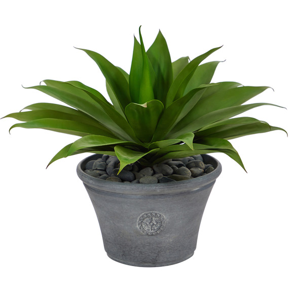 22 Agave Succulent Artificial Plant in Gray Planter - SKU #P1423