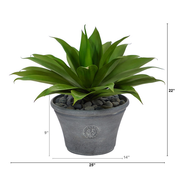 22 Agave Succulent Artificial Plant in Gray Planter - SKU #P1423 - 1