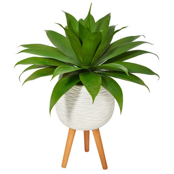 33 Agave Succulent Artificial Plant in White Planter with Stand - SKU #P1425