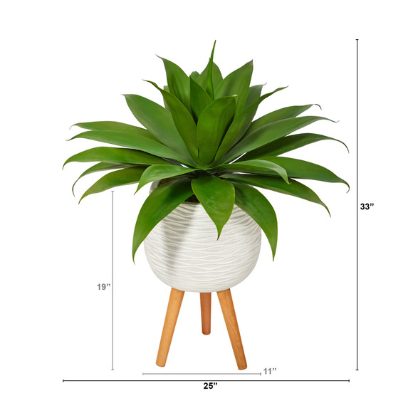 33 Agave Succulent Artificial Plant in White Planter with Stand - SKU #P1425 - 1