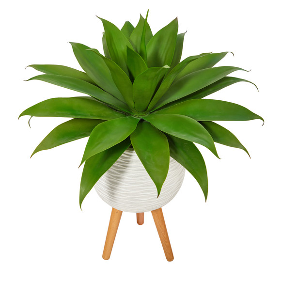 33 Agave Succulent Artificial Plant in White Planter with Stand - SKU #P1425 - 2