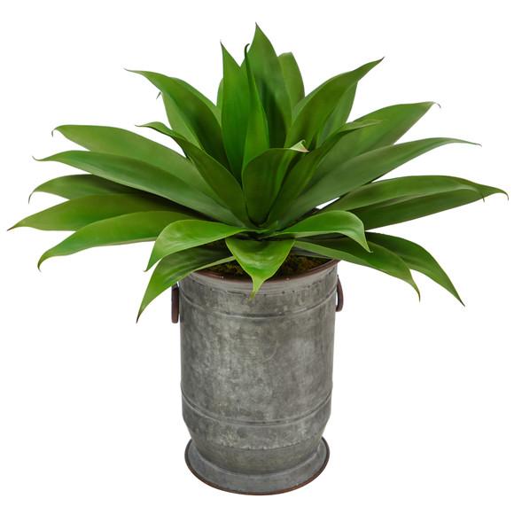 26 Agave Succulent Artificial Plant in Vintage Metal Planter - SKU #P1426