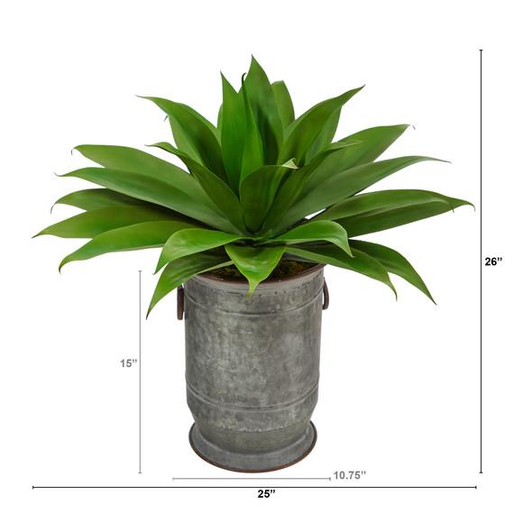 26 Agave Succulent Artificial Plant in Vintage Metal Planter - SKU #P1426 - 1
