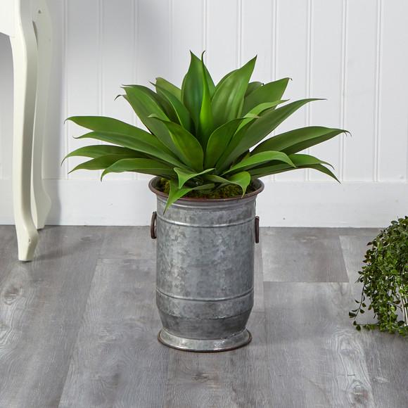 26 Agave Succulent Artificial Plant in Vintage Metal Planter - SKU #P1426 - 2