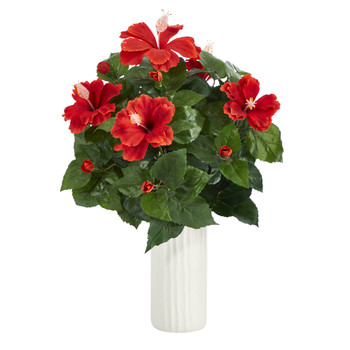 20 Hibiscus Artificial Plant Artificial Plant in White Planter - SKU #P1434