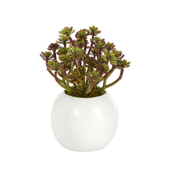 7 Sedum Succulent Artificial Plant in White Planter - SKU #P1439