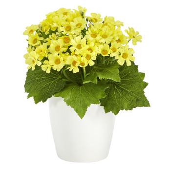 10 Daisy Artificial Plant in White Planter - SKU #P1440-YL