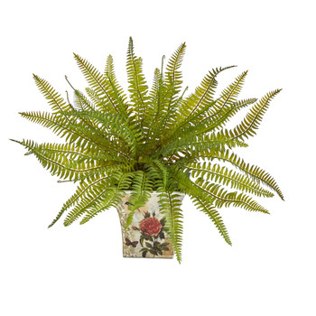 11 Fern Artificial Plant in Floral Planter - SKU #P1441