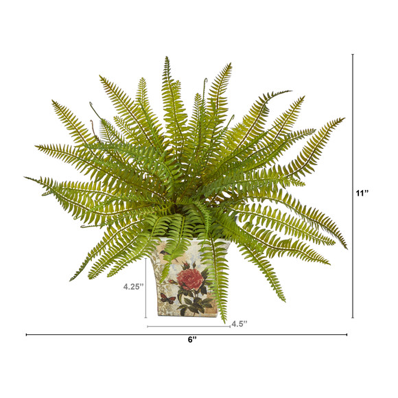 11 Fern Artificial Plant in Floral Planter - SKU #P1441 - 1