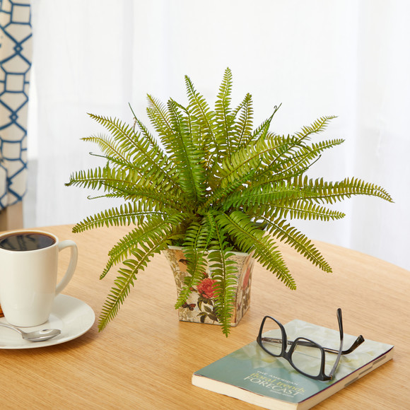 11 Fern Artificial Plant in Floral Planter - SKU #P1441 - 2