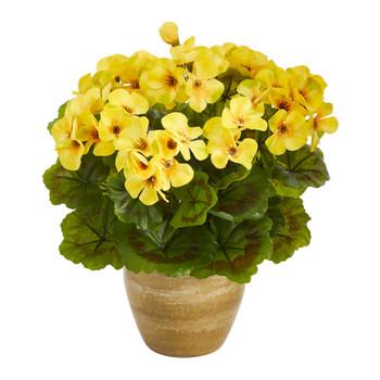 11 Geranium Artificial Plant in Ceramic Planter UV Resistant Indoor/Outdoor - SKU #P1442-YL
