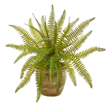 10 Fern Artificial Plant in Ceramic Planter - SKU #P1443