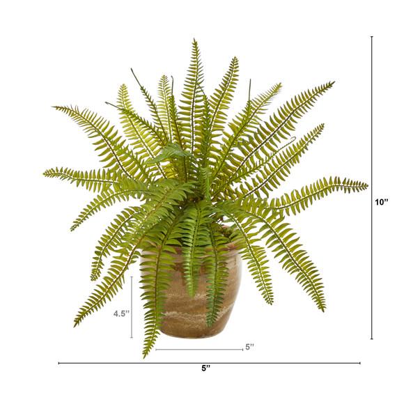 10 Fern Artificial Plant in Ceramic Planter - SKU #P1443 - 1