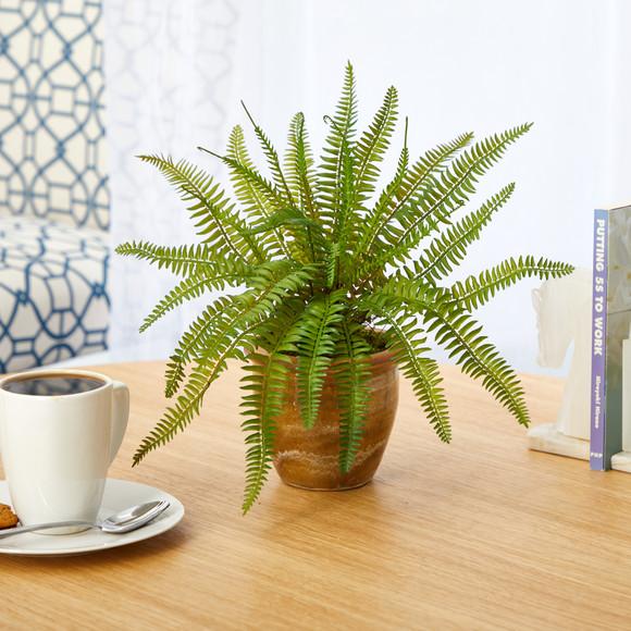 10 Fern Artificial Plant in Ceramic Planter - SKU #P1443 - 2