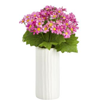 13 Daisy Artificial Plant in White Planter - SKU #P1444-MA
