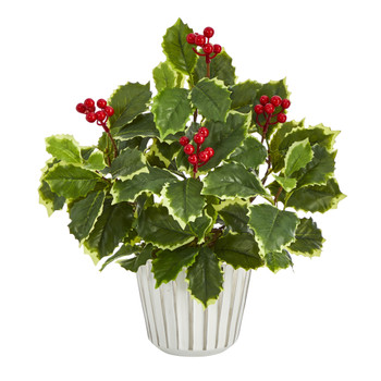 13 Variegated Holly Leaf Artificial Plant in White Planter with Silver Trimming Real Touch - SKU #P1447
