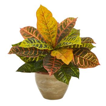 15 Garden Croton Artificial Plant in Ceramic Planter Real Touch - SKU #P1452
