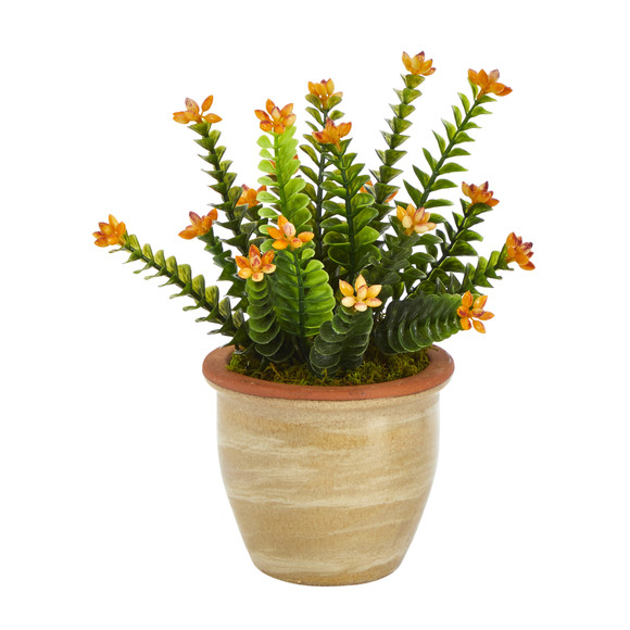 10 Flowering Sedum Succulent Artificial Plant in Ceramic Planter - SKU #P1454