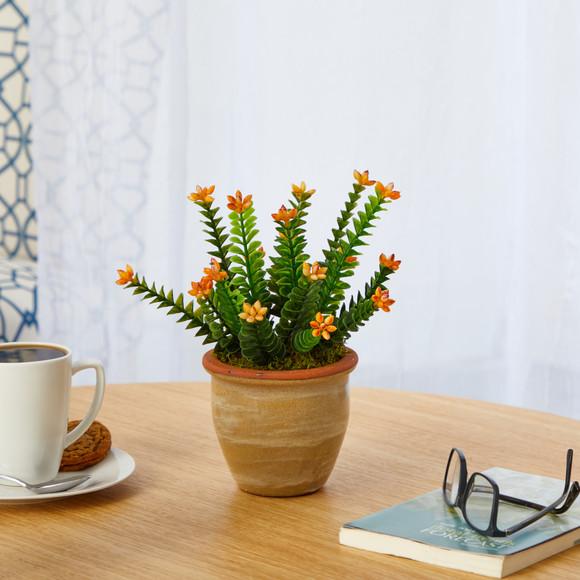 10 Flowering Sedum Succulent Artificial Plant in Ceramic Planter - SKU #P1454 - 2