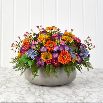 18 Mixed Floral Artificial Plant in Gray Garden Planter - SKU #P1461