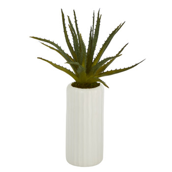 15 Aloe Artificial Plant in White Planter - SKU #P1466