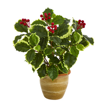 14 Variegated Holly Leaf Artificial Plant in Ceramic Planter Real Touch - SKU #P1470