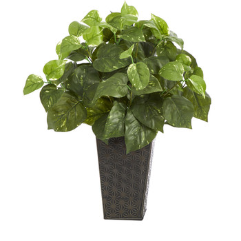 17 Pothos Artificial Plant in Embossed Black Planter - SKU #P1477