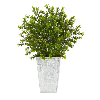 19 Boxwood Artificial Plant in Embossed White Planter Indoor/Outdoor - SKU #P1479