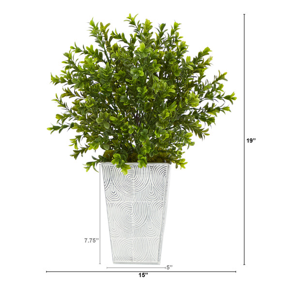 19 Boxwood Artificial Plant in Embossed White Planter Indoor/Outdoor - SKU #P1479 - 1