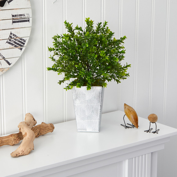 19 Boxwood Artificial Plant in Embossed White Planter Indoor/Outdoor - SKU #P1479 - 2