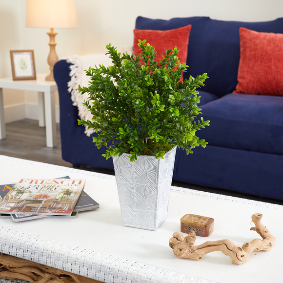 19 Boxwood Artificial Plant in Embossed White Planter Indoor/Outdoor - SKU #P1479 - 3
