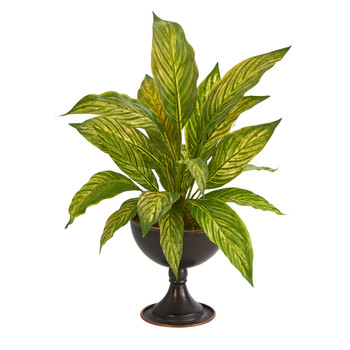 17 Musa Leaf Artificial Plant in Metal Chalice - SKU #P1480