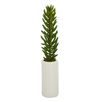 19 Succulent Artificial Plant in White Planter - SKU #P1482