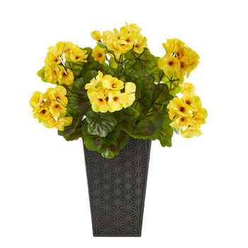 15 Geranium Artificial Plant in Embossed Black Planter UV Resistant Indoor/Outdoor - SKU #P1483