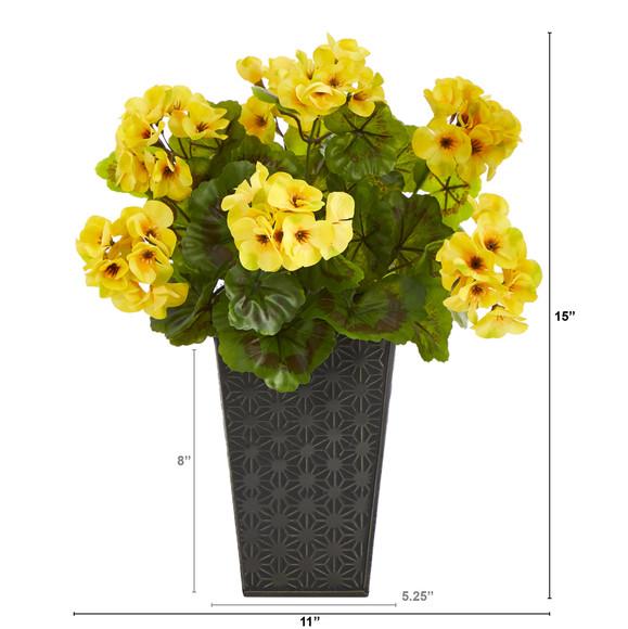 15 Geranium Artificial Plant in Embossed Black Planter UV Resistant Indoor/Outdoor - SKU #P1483 - 1