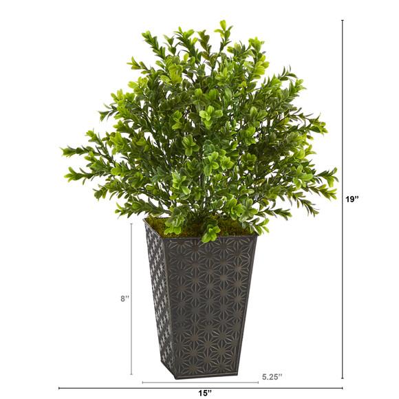 19 Sweet Grass Artificial Plant in Embossed Black Planter Indoor/Outdoor - SKU #P1485 - 1