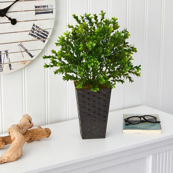 19 Sweet Grass Artificial Plant in Embossed Black Planter Indoor/Outdoor - SKU #P1485 - 2