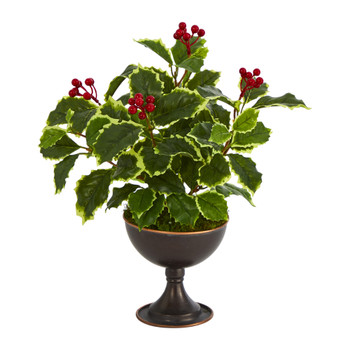 15 Variegated Holly Artificial Plant in Metal Chalice Real Touch - SKU #P1487