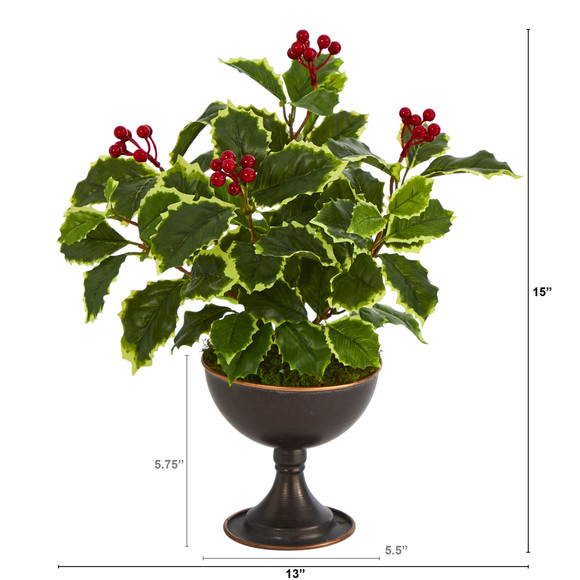 15 Variegated Holly Artificial Plant in Metal Chalice Real Touch - SKU #P1487 - 1