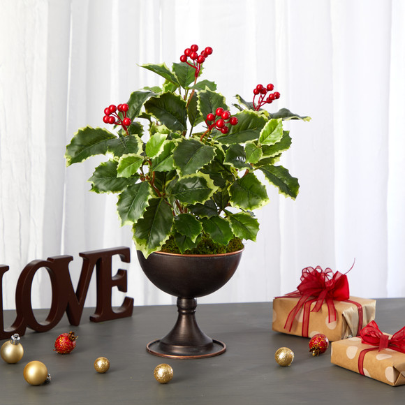 15 Variegated Holly Artificial Plant in Metal Chalice Real Touch - SKU #P1487 - 2